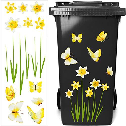 Outus Mülleimer Blumen Aufkleber Eimer Dekorative Aufkleber Mülltonnen Blumen Aufkleber Abziehbild für Behälter, Kühlschrank und Haushalt Dekorationen