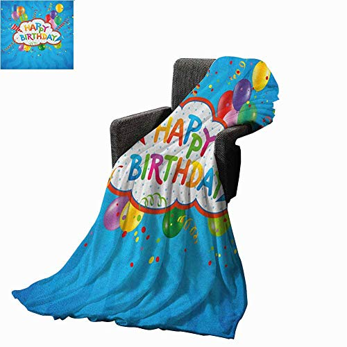 "Flyerer Birthday Cooling Blanket Wavy Blue Colored Backdrop with Greeting Text Party Hats Confetti Best Wishes Multicolor Lightweight Blanket 50""x70"" inch"