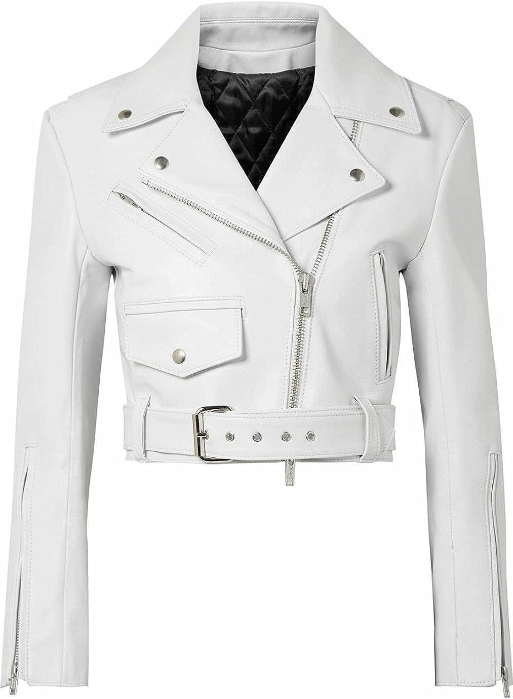 UGFashions Women's White Brando Motorcycle Short Body Cropped Belted Vintage Leather Jacket