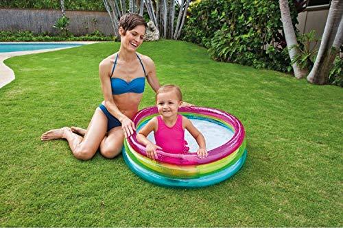 Aufblasbarer Pool Baby-Planschbecken Gartenpool Aufstellpool Schwimmbad Babypool Schwimmingpool Ringpool klein bunt rund mini faltbar für Balkon Garten Terrasse 86x25 cm