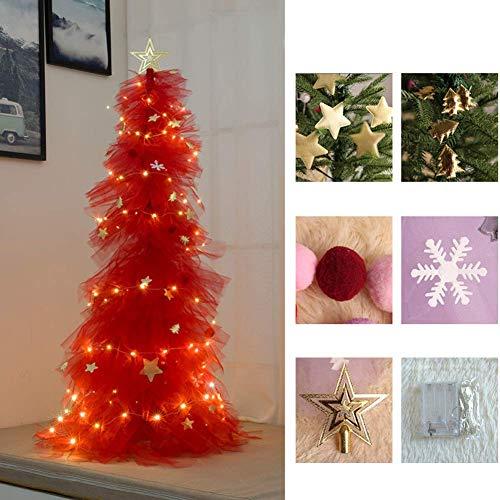 LIUSHI Conjunto de árbol de Navidad, pre-Cama de árbol de Navidad Artificial decoración de Fiesta de Festival de Boda en casa-Rojo Oscuro 150cm