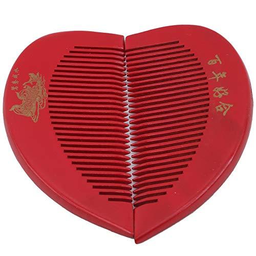 GLJYG Peineta de madera con forma de corazón rojo para boda, romántico,...