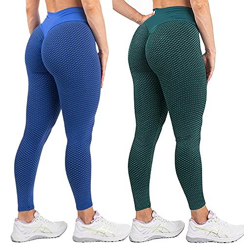 SHUOYUE Leggings Sportivi Donna 2 Pezzi Pantaloni Fitness Leggins Yoga Vita Alta Leggings Elasticizzati da Donna Push Up Pants Palestra Pantaloni Anticellulite Allenamento Pantaloni Nido d'Ape