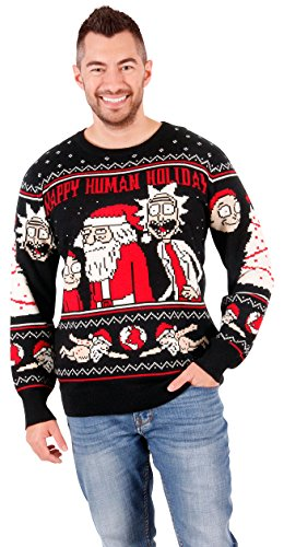 Ripple Junction Rick and Morty Adult Happy Human Holiday Medium Weight Knit Crew Sweater XL Black