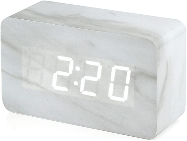 Oct17 Marble Pattern Alarm Clock Fashion Multi Function LED Alarm Clock With USB Power Supply Voice Control Timer Thermometer White
