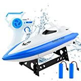 RC Boat Remote Control Boat for Kids and Adults, 30 mph 2.4 GHz Remote Control Racing Boats for Pools and Lakes with 2 Rechargeable Battery, Gifts for Boys Girls, Blue