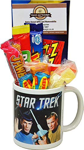 Star Trek Spock and Captain Kirk Mug filled with retro sweets