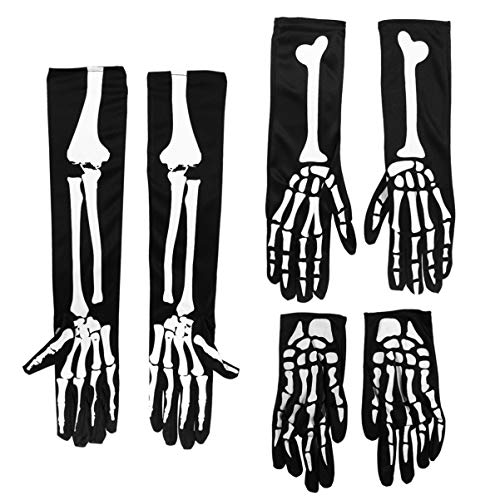 ULTECHNOVO Halloween Schädel Kralle Ghost Bone Handschuhe - Halloween Schwarz Skelett Knochen Lange Handschuhe 6Pcs
