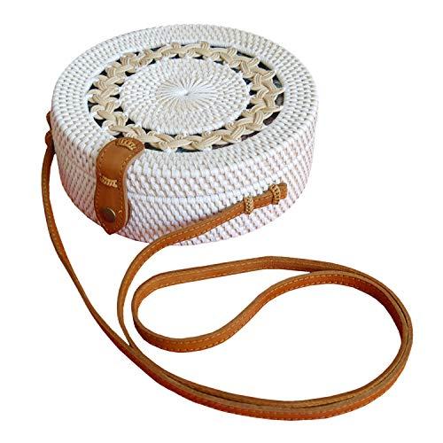 Pro@Home43 Original Bali handmade Damen Mädchen Strand Rattan Flecht Bast Handtasche Umhängetasche Schultertasche - rund