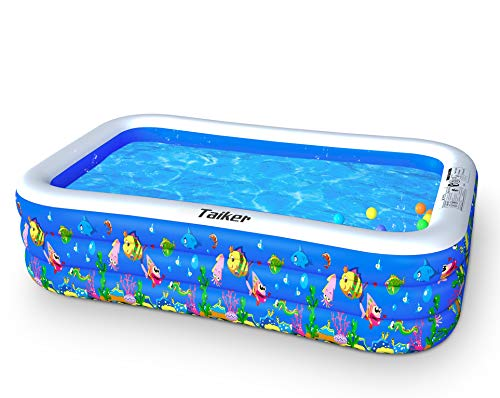 Taiker Inflatable Swimming Pools, Kiddie Pools, 96 x 57 x 21 in Family Lounge Pools, Family Swimming Pool for Kids, Adults, Babies, Toddlers, Outdoor, Garden, Backyard