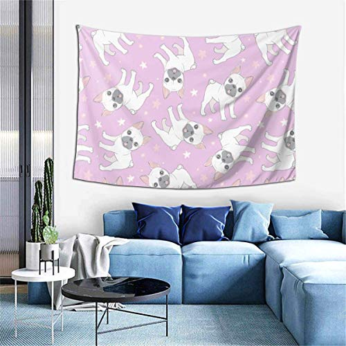 Pink French Bulldog Dogs Paw Room Tapestries, Natural Scenery Green Beach Blankets, Picnic Cloth, Sofa Cover Wall Hangings, Home Decoration Wall Hangings 80x60 inches