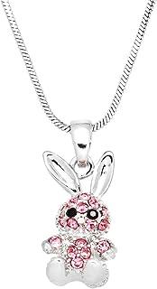 Mini Petite Cute 3D Easter Bunny Rabbit Necklace - Easter Basket Stuffer Jewelry Gifts Ideas for Teens, Little Girls, Gran...