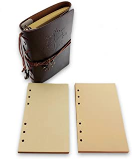 Nextnol Retro daily notebook,Classic Spiral Bound Notebook Refillable Diary Sketchbook With two Loose Leaf Binder Notebook (brown)
