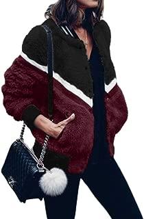 Mujer Chaquetas de Bombardero Abrigo Casaca Color Block Rayas Sherpa Peludo Forrado Peludo Suave Piel sintética Bolsillos de Peluche Aviador Ropa de Abrigo