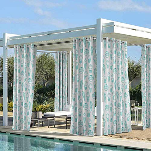ParadiseDecor Ice Cream Quality Curtains for Front Porch/Garden Hand Drawn Ice Cream Pattern Abstract Style and Fresh Summer Color Childish Turquoise White 108W x 96L Inch
