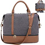 CAMTOP Canvas Travel Weekender Bag Overnight Duffel Carry On Tote with Shoe Compartment and Trolley Sleeve (B-Gray)