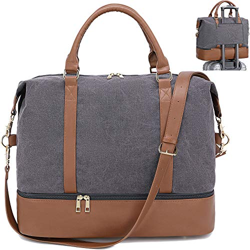CAMTOP Canvas Weekender Bag Overnight Travel Duffel Carry On Tote with Shoe Compartment and Trolley Sleeve (B-Gray)