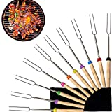 Marshmallow Roasting Sticks Set of 10,Extendable BBQ Forks with Wooden Handle Smores Skewers Hot Dog Telescoping Sticks Campfire Camping Stove BBQ Tools