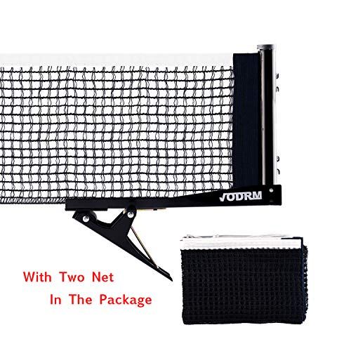 For Sale! VODRM Premium Clipper Ping Pong Net – Table Tennis Net and Post Set Easy and Fast Assemble 72″ Replacement Spring Activated Clip Set (Two Nets)