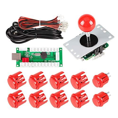 EG STARTS Arcade Spiel DIY Teile Kit 5Pin Joystick 8x 30MM + 2x 24MM Buttons für PC Games Mame Raspberry Pi 3 2 1 model B mit RetroPie