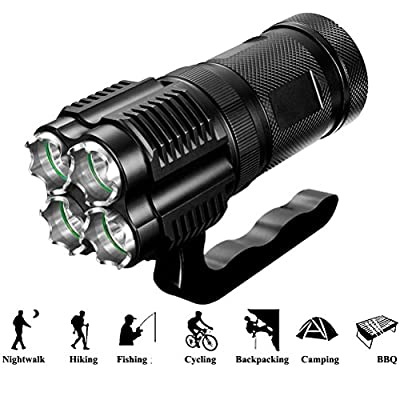 HAMAXA 3000 Lumens High Power Tactical Handheld Flashlight Torch Rechargeable LED Searchlight Bright Spotlight Dimmable Waterproof CREE XML-T2 Floodlight Light For Camping Lantern Hiking Hunting Black