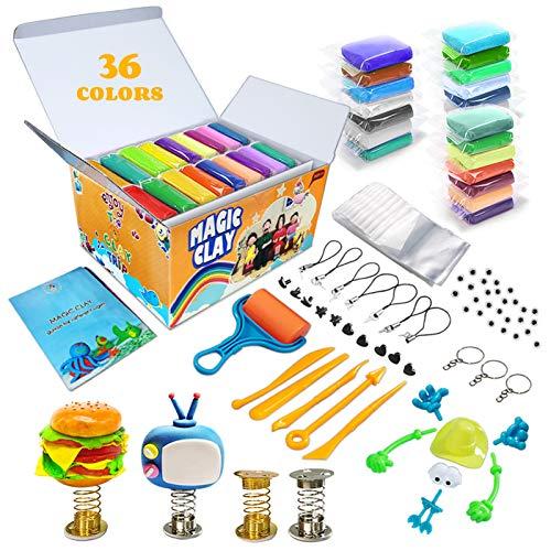 Modelliermasse Kit - 36 Farben Lufttrockener Magischer Knete für Kinder, DIY Formton mit werkzeugen, Tierisches Zubehör, Kinder Kunsthandwerk Geschenk für Jungen und Mädchen im Alter von 6+ Jahren