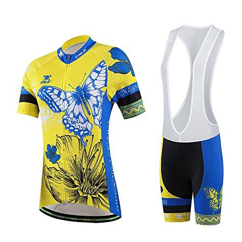 Hebike Butterfly Gelb und Blau Damen Fahrrad Fahrrad Kurzarm Trikot 3D Gepolsterte Shorts Set Outfit Radtrikot Trägerhose Set L Jersey + Lätzchen