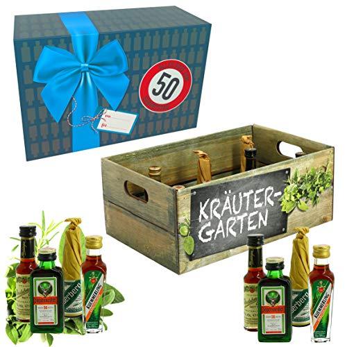 CREOFANT Kräutergarten mit Geburtstagszahl 50. Geburtstag · Witzige Geschenkidee für Männer und Frauen mit Alkohol · 8 x Kräuter-Likör · Hochwertige Geschenkbox · Geburtstagsgeschenk für Männer