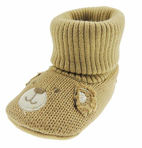 Chaussons super mignons en tricot pour bébé garçon et fille Motif smiley 13 6-12 mois Chocolat