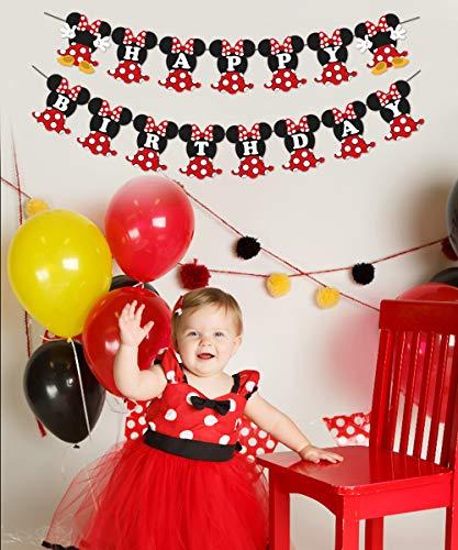 JOYMEMO Fiesta de cumpleaños de Minnie Mouse Rojo y Negro para Fiesta de cumpleaños Decoraciones de Bienvenida al bebé… 3