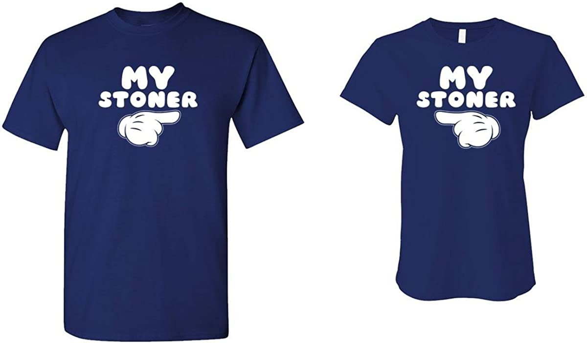The Goozler My Stoner - Weed Pot - HIS & HER T-Shirt Combo, XL Left, MED Right, Navy