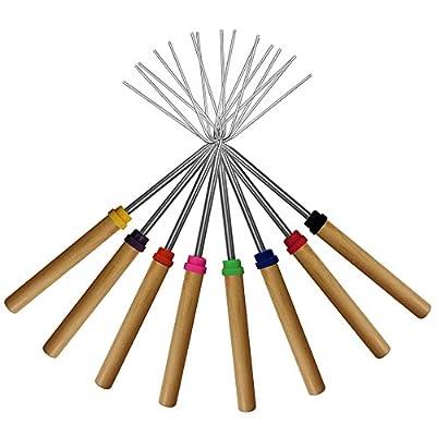 Marshmallow Roasting Sticks ,KEKU Set of 8 Telescoping Rotating Smores Skewers & Hot Dog Fork Kids Camping Campfire Fire Pit Accessories by KEKU
