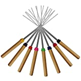 Marshmallow Roasting Sticks ,KEKU Set of 8 Telescoping Rotating Smores Skewers & Hot Dog Fork Kids Camping Campfire Fire Pit <span class='highlight'>Accessories</span>