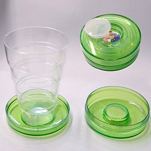Cosmoplast Bicchiere con portapillole Tascabile in plastica , colore assortiti confezione 6 pezzi
