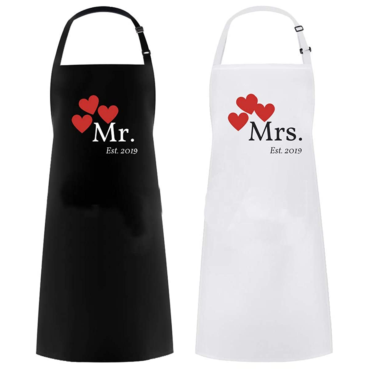 Mrs Apron and Mr Apron 2019 Matching Couples Gift Great as a Wedding Gift or His and Hers Engagement Gift Set …