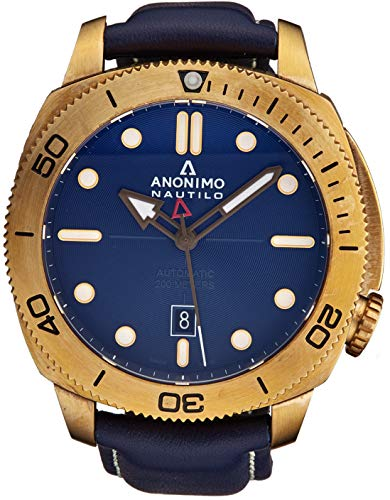 Anonimo Mens Nautilo Automatic Watch - 45mm Analog Blue Face with Luminous Hands Date and Sapphire Crystal - Blue Leather Band Swiss Made Stainless Steel Classic Watch AM-1001.04.003.A03