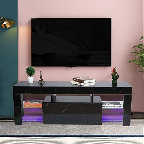 AYNEFY Mueble para TV con Aspecto de mármol, Color Negro, con iluminación LED, Mueble Moderno para la televisión, con 1 Puerta y 2 estantes, para salón o Dormitorio, 130 x 35 x 45 cm