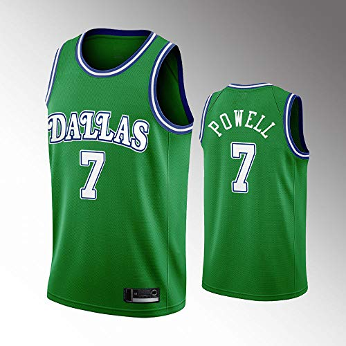 SHR-GCHAO Camiseta De Baloncesto para Hombre 2021 NBA Dallas Mavericks # 7 Dwight Powell Camiseta Bordada, Camiseta Deportiva Sin Mangas con Cuello Redondo Y Malla,Verde,L(175~180cm)
