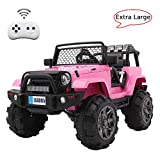 VALUE BOX Extra Larger Ride On Truck, 12V Battery Electric Kids Toddler Motorized Vehicles Toy Car w/ Remote Control, 3 Speeds, Spring Suspension, Seat Belts, LED Lights and Realistic Horns (Pink)