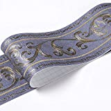 Borde del papel pintado Vid azul Adhesivo del Papel Pintado del PVC Cenefa autoadhesiva para decoración de pared de cocina10x500cm