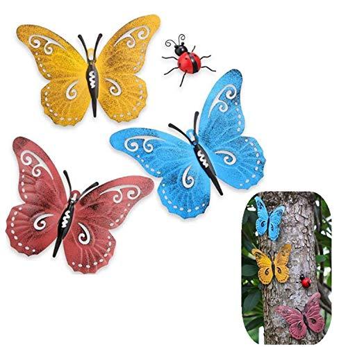 Mariposa de Metal 3Pcs Insecto Lindo para Colgar Arte de Pared Jardín Decoración del Césped Esculturas de Pared con 2Pcs Mariquitas de Metal