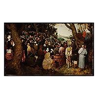 GZSBYJSWZ Citon Bruegelpieter《洗礼者聖ヨハネの説教》キャンバスアート油絵写真壁の装飾家の室内装飾-60X100Cmx1フレームなし