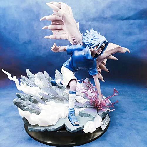 KPSHY Naruto Anime Ote Sasuke Puede iluminar Figura muñecas decoración versión Premium Estatua muñeca Escultura Juguete decoración Modelo muñeca Altura 33 cm