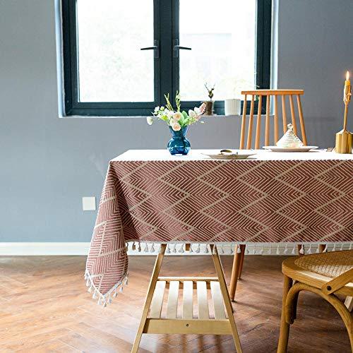 Kuingbhn Mantel para Mesa de Cocina o Salón Hojas Rectangular Cotton Linen Jacquard Tassel Lavable Diseño de Comedor decoración del Hogar Red 90×140cm