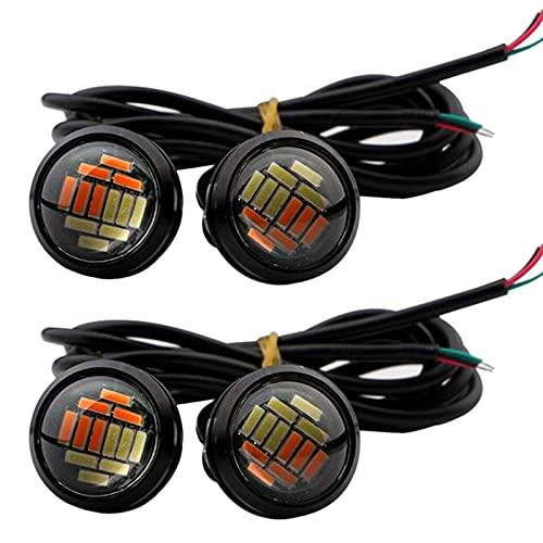 WDGXZM4 Pezzi per Auto 12V 23mm Dual Color Switchback 4014 12 LED Drl Eagle Eye Daytime Light,