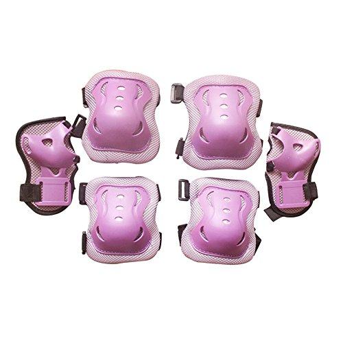 Eruner, Knie-, Handgelenk- und Ellebogenschützer, Rollschuhlaufen, Roller, für 3–9Jahre, 6Stück, lila