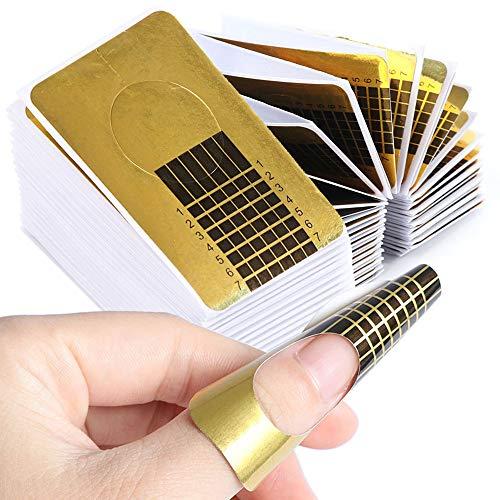 Nagel-Schablonen,Modellier-Schablone selbstklebend für Gel-Nägel & Nagel-Verlängerung Golden Schablonen (100 Stück)