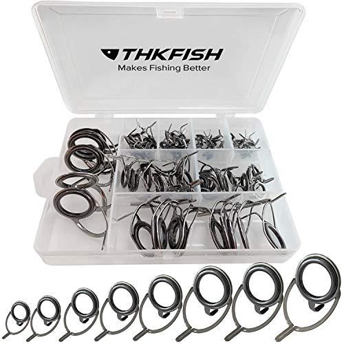 THKFISH Guías de caña de Pesca Kit de reparación de cañas de Pesca Guías de caña de Baitcasting Cerámica Carbono de Acero Inoxidable Guía de reparación 8 tamaños Plata bruñida - Marco 75 Piezas