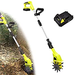 Motobineuse électrique Bineuse électrique Mini Taber électrique pour jardins, profondeur de terre cultivée 9.8in…