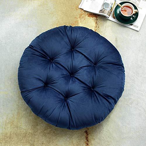Pure Color Corduroy Floor Cushion,round Thicken Outdoor Seat Cushion Meditation Yoga Living Room Sofa Terrace Cushion 55x55CM Navy blue
